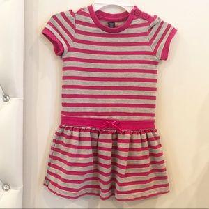Pink striped grey dress